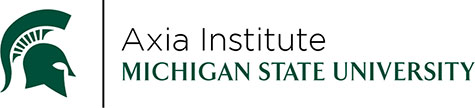 Spartan Helmet and the words Axia Institute, Michigan State University